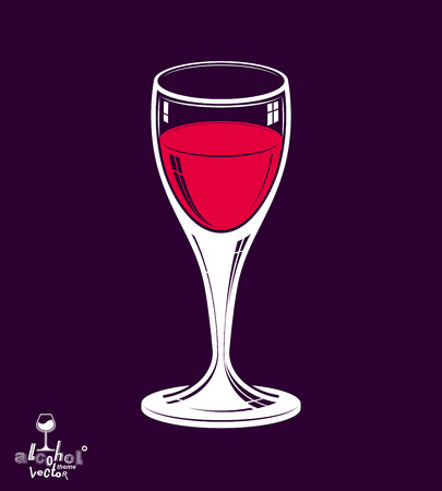 revelry: Realistic 3d wineglass placed over dark background, beverage theme illustration. Decorative artistic lounge object, leisure and entertainment element � party lifestyle. Illustration