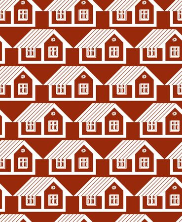 Real estate theme symmetric vector seamless pattern, abstract houses depiction. Property developer idea, for use in graphic design.