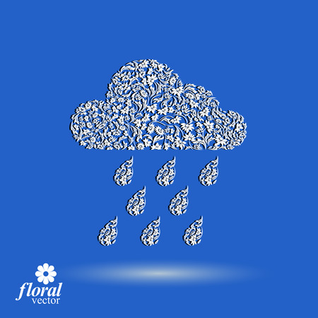 cold weather: Weather forecast vector icon, meteorology flower-patterned symbol. Cold season  abstract pictogram � storm cloud with falling rain drops, web design element. Illustration