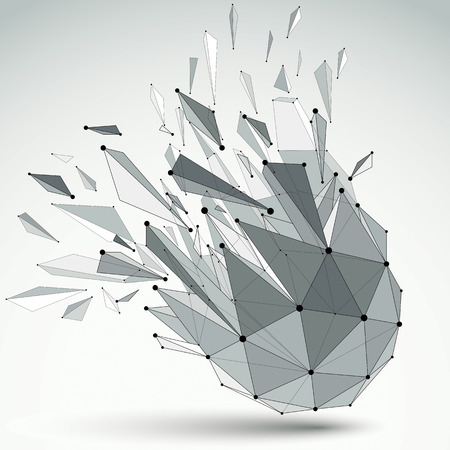 wrecked: Abstract vector low poly wrecked object with black lines and dots connected. 3d origami futuristic form with lines mesh.