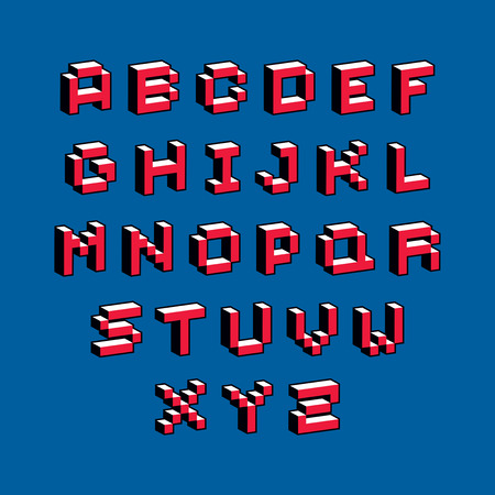 cybernetic: Cybernetic 3d alphabet letters, pixel art vector digital typescript. Pixel design elements, contemporary dotted font made in technology style.