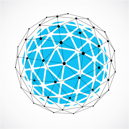 Abstract vector low poly object with black lines and dots connected. Blue 3d origami futuristic form with black overlapping lines mesh.