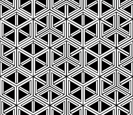 splice: Monochrome abstract interweave geometric seamless pattern. Vector black and white illusory backdrop with three-dimensional intertwine figures. Graphic contemporary covering.