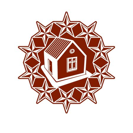 Solidarity idea vector icon, simple house surrounded with festive stars. Stylized design element, union theme. Illustration