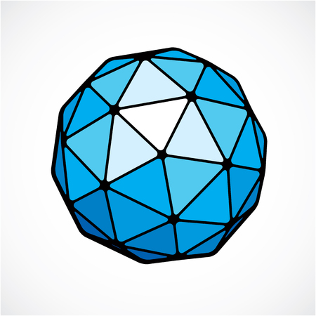 facets: 3d vector low poly blue spherical object, perspective orb created with triangular facets. Abstract polygonal element for use as design structure on communication technology theme