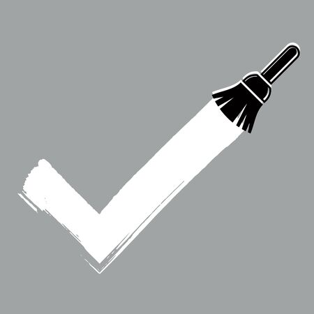 validation: Vector hand-drawn check mark isolated, validation sign created with paintbrush. Monochrome acceptance symbol made with brushstrokes, choice concept.