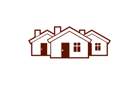 homely: Simple cottages vector illustration, country houses, for use in graphic design. Real estate concept, region or district theme. Building company abstract corporate image.
