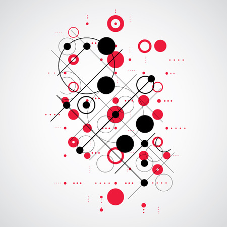 Vector Bauhaus abstract red background made with grid and overlapping simple geometric elements, circles and lines. Retro style artwork, graphic template for advertising poster.