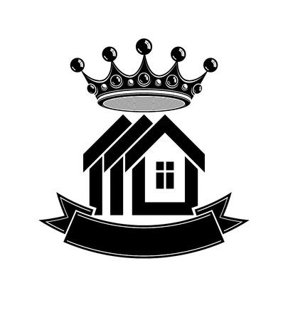 Imperial coat of arms, royal house vector conceptual symbol. Protection shield with 3d king crown. Majestic heraldic design element.