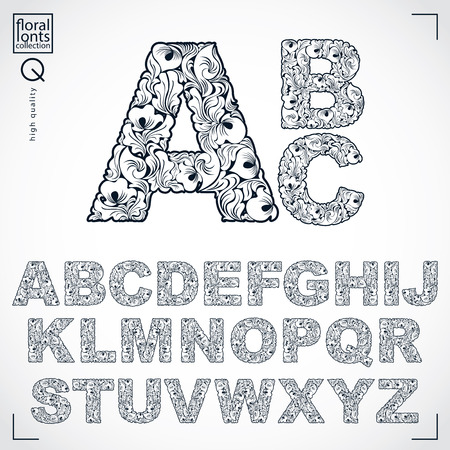 serif: Floral alphabet sans serif letters drawn using abstract vintage pattern, spring leaves design. Black and white vector font created in natural eco style. Illustration