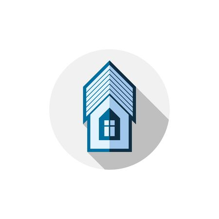 frontage: Property symbol, vector house constructed with bricks. Real estate agency theme. Round sign with home illustration.