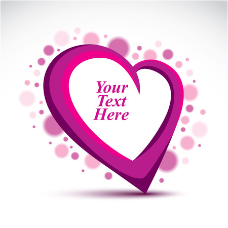 tender sentiment: Decorative vector purple love heart surrounded with transparent bubbles and made with a copy space inside. You can place your text here. Design symbol on Valentine Day and wedding theme.