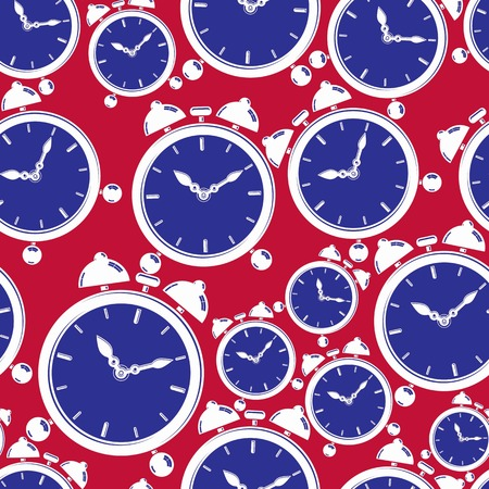 interim: Seamless pattern with clocks, wake up idea. Simple timers, classic vector stopwatches. Time management symbolic elements.