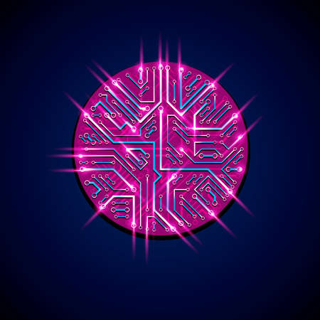 luminescent: Technology communication luminescent cybernetic element. Vector abstract illustration of neon circuit board in the shape of circle with shine effect. Illustration