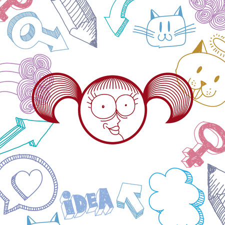 personality: Vector graphic colorful drawing of personality face, happy female with stylish haircut. Social network theme illustration. Human emotions idea.
