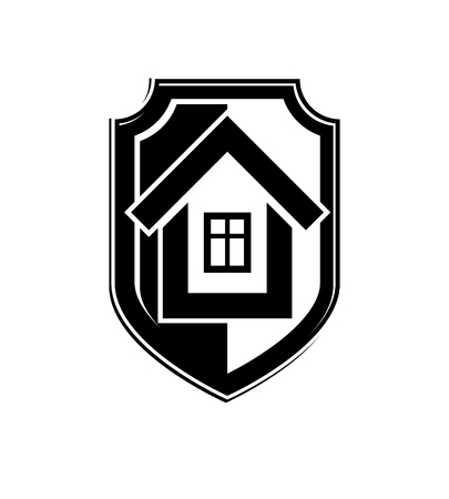 blazonry: Home insurance conceptual icon, protection shield with vector simple house. Design element, construction idea. Heraldry.