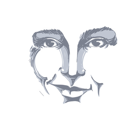 Vector drawing of distrustful woman, face features. Black and white portrait of doubter lady, do not lie to me. Stok Fotoğraf - 60527747
