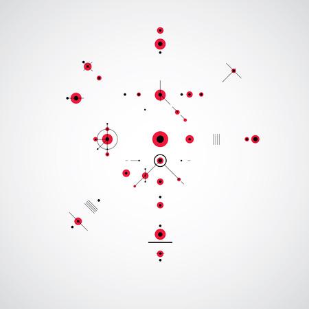dibujo tecnico: Dibujo técnico realiza mediante líneas de puntos y círculos geométricos. Papel pintado del vector creado en el estilo de la tecnología de las comunicaciones, el diseño del motor.