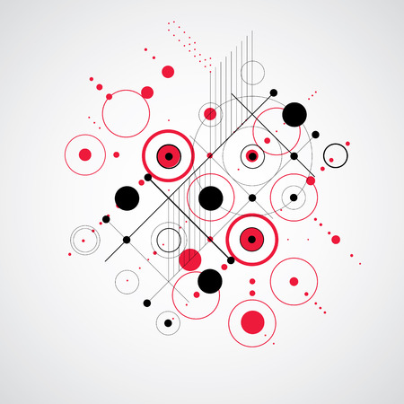 Vector abstract background created in Bauhaus retro style. Modern geometric composition can be used as templates and layouts. Illustration
