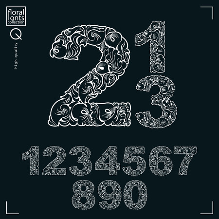 flowery: Ecology style flowery numbers, vector numeration made using natural ornament. Black and white digits created with spring leaves and floral design.
