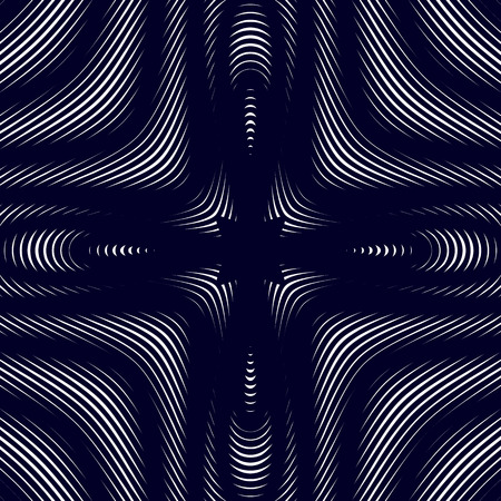 Moire pattern, op art vector background. Hypnotic backdrop with geometric black lines. Abstract tiling. Illustration
