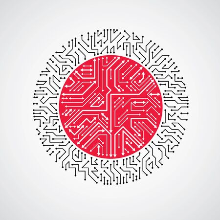 high tech device: Vector abstract technology illustration with round black and red circuit board. High tech circular digital scheme of electronic device, multidirectional arrows.