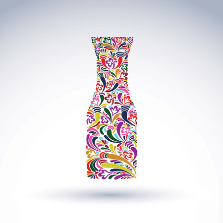 flowery: Bright flowery alcohol bottle, pitcher. Stylized glassware symbol with abstract ethnic pattern. Graphic relaxation conceptual vector object, can be used in decoration and design. Illustration