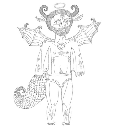 nude man: Vector hand drawn graphic illustration of weird creature, cartoon nude man with wings, animal side of human being. Saint spirit artistic allegory drawing. Illustration