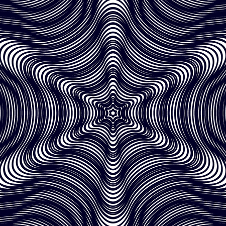 Moire pattern, monochrome vector background with trance effect. Optical illusion, creative black and white graphic backdrop.