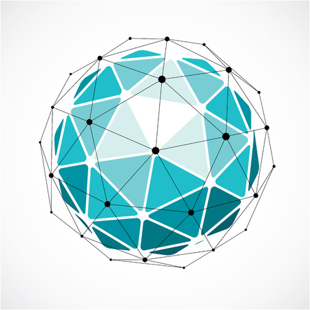 facets: 3d vector low poly spherical object with black connected lines and dots, geometric green wireframe shape. Perspective orb created with triangular facets.