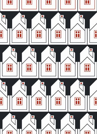 depiction: Real estate theme symmetric seamless vector pattern, abstract houses depiction. Property developer idea, for use in graphic design. Illustration