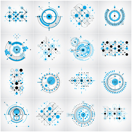 Bauhaus art composition. Set of blue modular vector wallpapers with circles and lines grid. Retro style patterns collection, graphic backdrops for use as booklet cover templates.