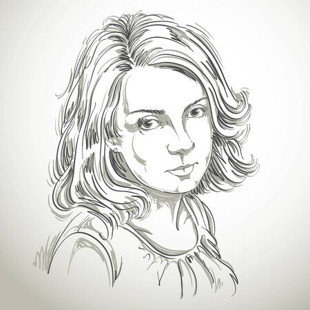 dreamy: Graphic vector hand-drawn illustration of white skin attractive melancholic lady with stylish haircut. People face expressions. Sad and dreamy girl.
