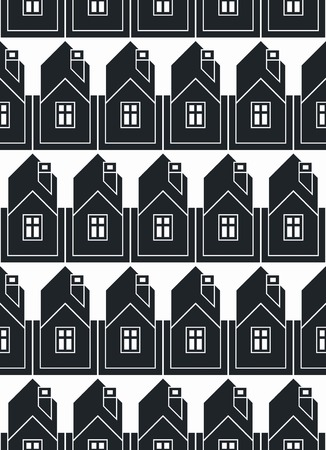 depiction: Real estate theme vector symmetric seamless pattern, abstract houses depiction. Property developer idea, for use in graphic design. Illustration