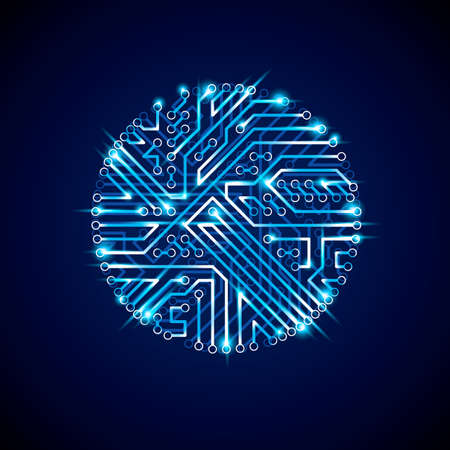 electronic scheme: Vector abstract luminescent technology illustration, round blue neon circuit board with sparkles. High tech circular digital scheme of electronic device.