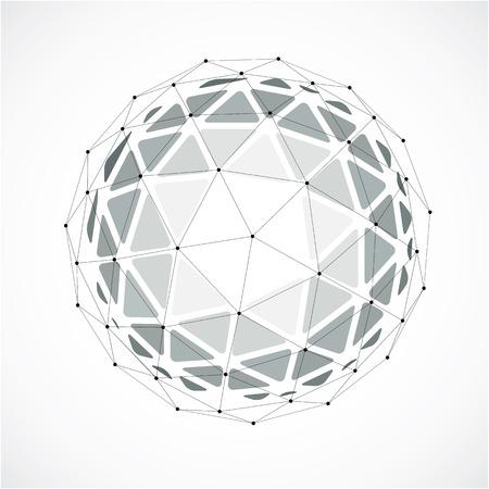 Abstract figure facettes 3d avec des lignes et des points noirs connectés. vecteur Monochrome élément de design de poly bas, la forme du globe cybernétiques avec grille et les lignes de maillage.
