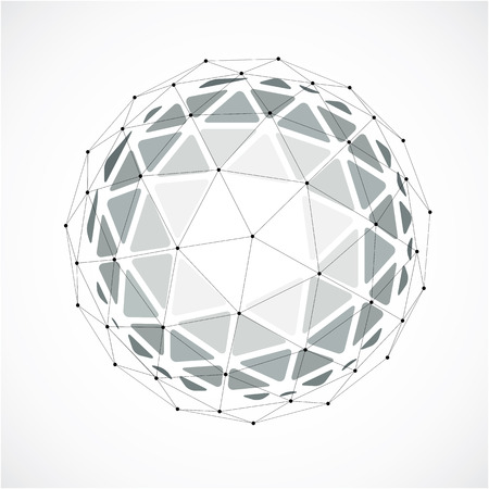 Abstract 3d faceted figure with connected black lines and dots. Monochrome vector low poly design element, cybernetic orb shape with grid and lines mesh. Illustration