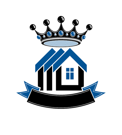 royal house: Imperial coat of arms, royal house conceptual vector symbol. Protection shield with 3d king crown. Majestic heraldic design element.