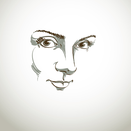 Black and white illustration of lady face, delicate visage features. Eyes and lips of delicate romantic woman expressing positive emotions.