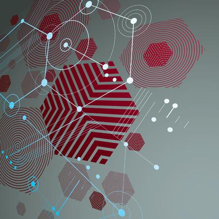 perspectiva lineal: 3d vector de Bauhaus abstracta fondo rojo hecho con rejilla y la superposición de elementos geométricos simples, hexágonos y líneas. las ilustraciones del estilo retro, plantilla gráfica para el cartel de publicidad.