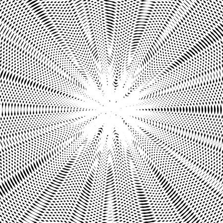 meditative: Decorative lined hypnotic contrast background. Optical illusion, creative black and white graphic moire backdrop.