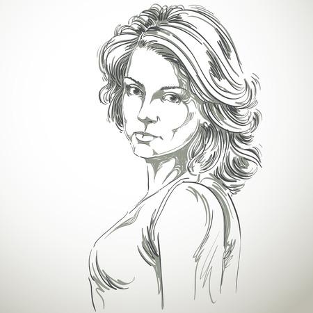Met de hand getekende vector illustratie van mooie zelfverzekerde vrouw. zwart-wit beeld, uitdrukkingen op het gezicht van jonge dame, Kaukasische type. Stock Illustratie