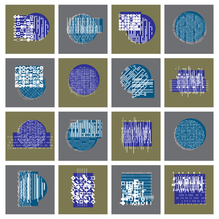 compositions: Abstract geometric compositions set, vector backgrounds collection. Illustration