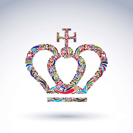 Elegant flower-patterned bright crown with Christianity cross, emperor accessory. Royal and spiritual art vector design element isolated on white background.