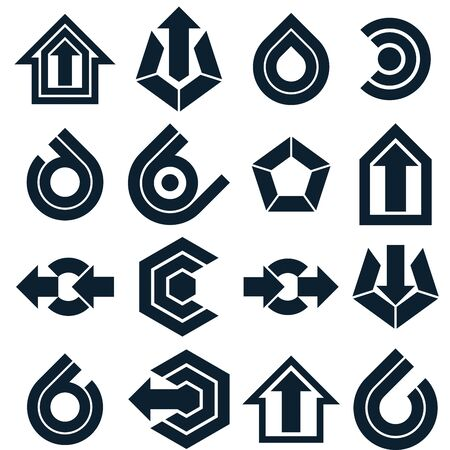 navigation pictogram: Vector black abstract icons set, simple corporate graphic design elements. Monochrome marketing symbols set isolated on white background.