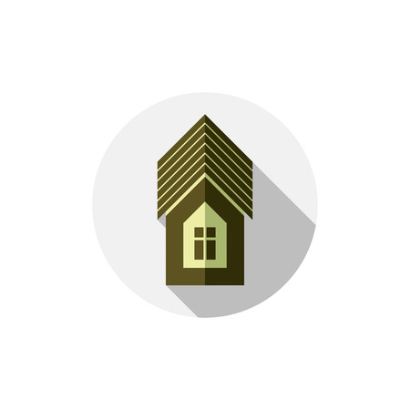 real estate agency: Property symbol, vector house constructed with bricks. Real estate agency theme. Round sign with home illustration.