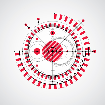 Technical drawing made using dashed lines and geometric circles. Vector red wallpaper created in communications technology style, engine design. Illustration