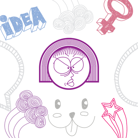 personality: Vector art hand drawn illustration of personality, emotions on woman face. Social interaction allegory drawing.