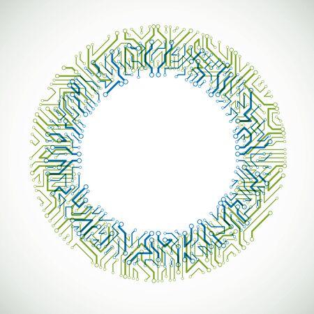 Elemento cibernético de comunicación de tecnología. Vector ilustración abstracta de la placa de circuito en forma de círculo.