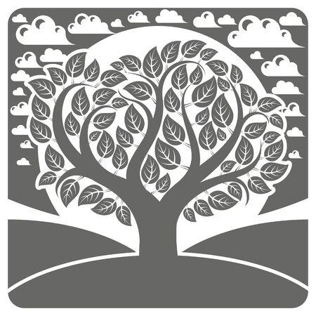 Arte vector ilustración gráfica de árbol ramificado estilizado y tranquilo paisaje con nubes, vista al campo. La hermosa naturaleza, imagen Diseño tema de la ecología. Ilustración de vector